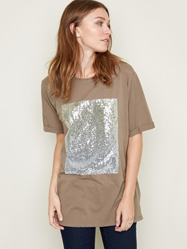 Ericdress Casual Sequins Short Sleeve T-Shirt