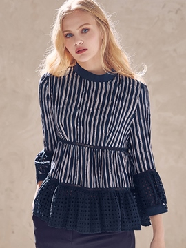 Ericdress Stripe Hollow Long Sleeve Blouses