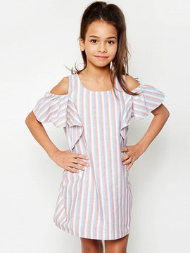 Ericdress StripeRuffle Sleeve Off-The-Shoulder Above Knee Dress