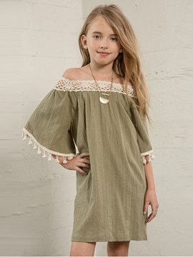 Ericdress Flare Sleeve Tassel Off-The-Shoulder Dress