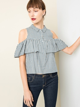 ericdress Revers Plaid off-Schulter Bluse