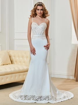 Ericdress Fancy Spaghetti Straps Lace Backless Mermaid Wedding Dress