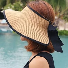 Ericdress Casual Outdoor Visor Crown Pure Color Straw Hat