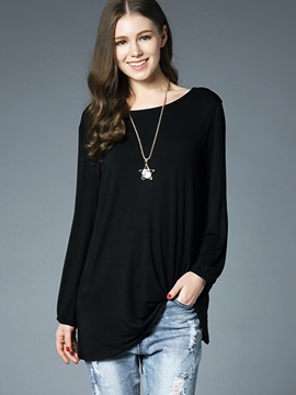 Ericdress Asymmetric Hollow Long Sleeve T-shirt