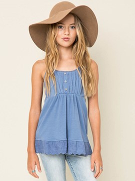 Ericdress Lace Button Spaghetti Straps Girls Tank Top