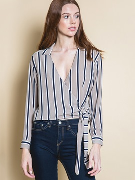 Ericdress V-Neck Stripe Blouse