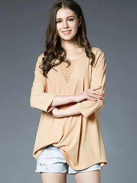 Ericdress Loose Hallow Mid-Length T-shirt
