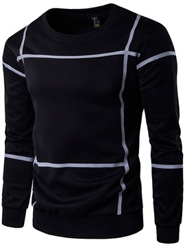 Ericdress Crew Neck Stripe Print Casual Men's Hoodie