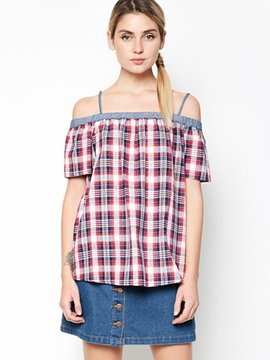Ericdress Off-Shoulder Stripe Short Sleeve Blouse
