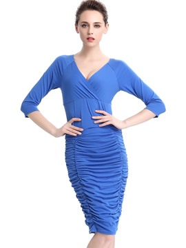 Ericdress Pleated V-Neck Stylelines Raglan Sleeve Sheath Dress