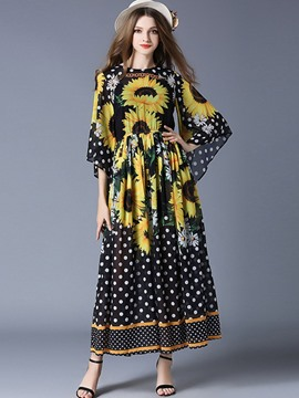 Ericdress Back Lace-Up Floral Polka Dots Print Flare Sleeve Maxi Dress