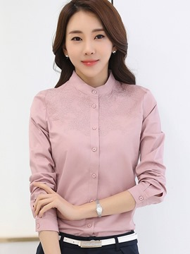 Ericdress Plain Slim Stand Collar Blouse