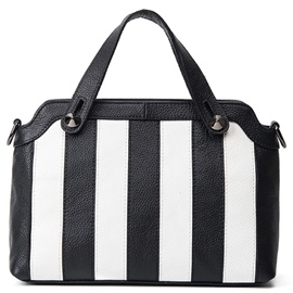 Ericdress Black White Stripe Cowhide Handbag