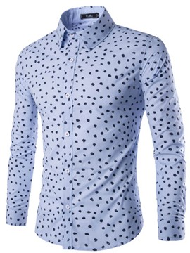 Ericdress Single-Breasted Polka Dots Long Sleeve Men's Shirt