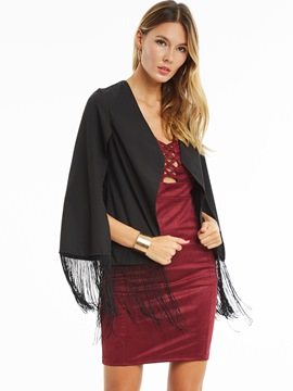 Ericdress Solid Color Tassel Cape