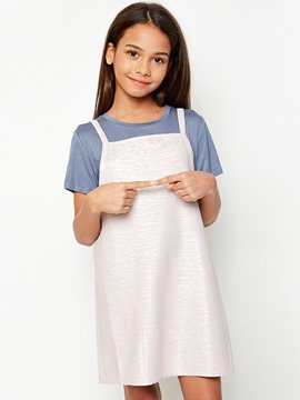 Ericdress Patchwork Suspenders Two-Piece Girls Outfit