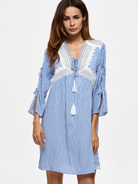 Ericdress Stripe Lace-Up Mid-Length Blouse