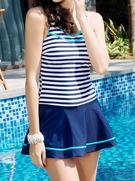 Ericdress Casual Stripe U-Neck Swimwear
