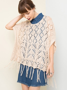 Ericdress Plain Hollow Tassel Knitwear