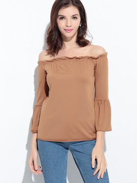 Ericdress Slash Neck Ruffle Sleeve T-Shirt