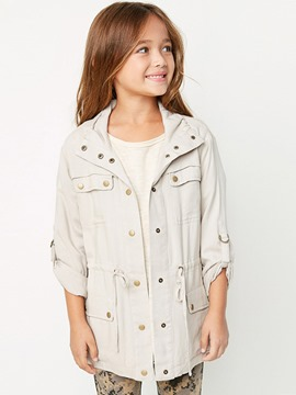 Ericdress Pocket Lace-Up Hidden Button Mid-Length Girls Outerwear