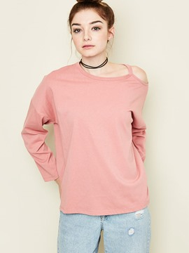 Ericdress Casual Plain One Shoulder Hollow T-Shirt