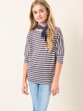 Ericdress Stripe Patchwork Loose Half Sleeves Girls T-Shirt