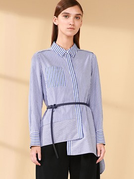 Ericdress Stripped Asymmetric Blouse