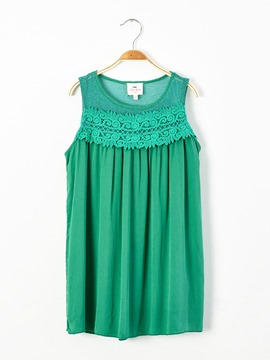 Ericdress Plain Lace Scoop Sleeveless A-Line Dress