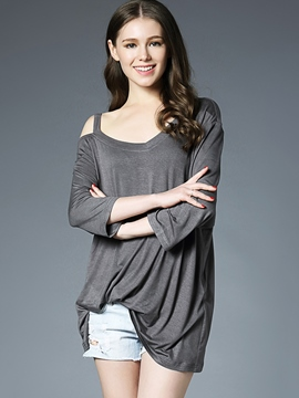 Ericdress Casual One Shoulder Hollow T-Shirt