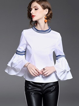 Ericdress Plain Patchwork Flare Sleeve Blouse