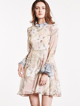 Ericdress Floral Print Ruffle Sleeve See-Through A Line Dress