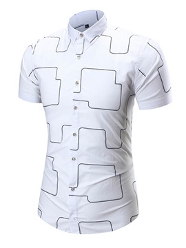 Ericdress Short Sleeve Iregular Print Men's Shirt