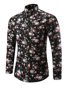 Ericdress Long Sleeve Floral Print Casual Men's Shirt