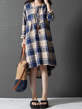 Ericdress Plaid Stylelines Single-Breasted Round Collar Casual Dress