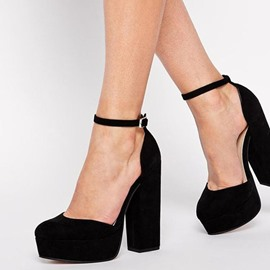 Ericdress Suede Platform Ankle Strap Chunky Heel Prom Shoes