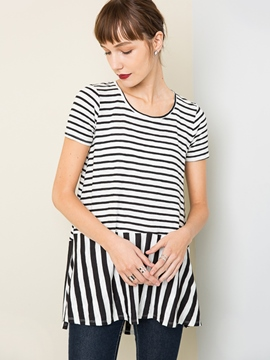 Ericdress Stripe Mid-Length T-Shirt