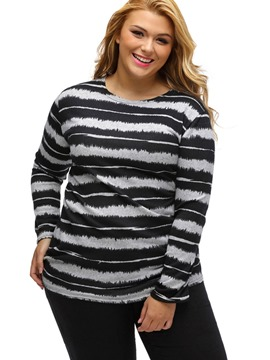 Ericdress Plus Size Stripe Long Sleeve T-Shirt