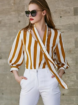 Ericdress Color Block Stripe Lantern Sleeve Blouse