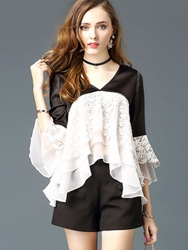 Ericdress Color Block Lace Flare Sleeve Blouse