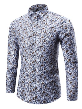 Ericdress Casual Floral Print Long Sleeve Men's Shirt