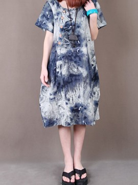 Ericdress Ink Print Single-Breasted Round Collar Casual Dress
