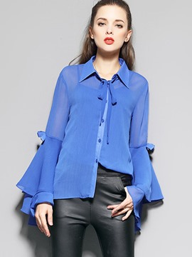 Ericdress Plain Flare Sleeve Blouse