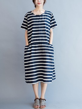 Ericdress Strip Pocket Loose Casual Dress