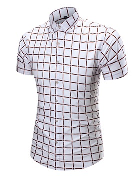 Ericdress Large Size Plaid Short Sleeve Men's Shirt