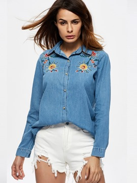 Ericdress Lapel Flower Embroidery Blouse